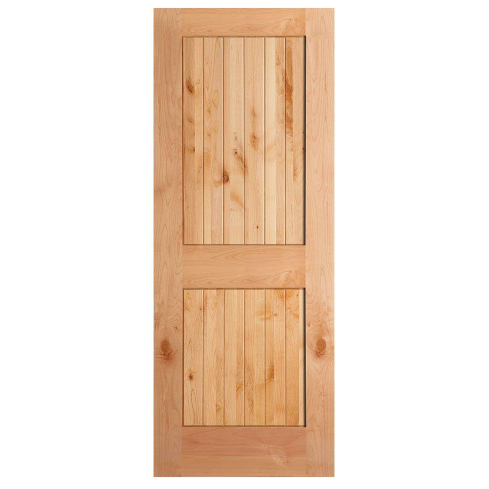 Masonite 40 in x 84 in knotty alder veneer 2 panel plank for Solid wood panel interior doors