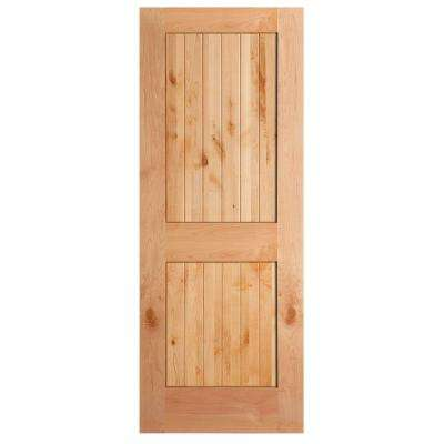 40 in. x 84 in. Knotty Alder Veneer 2-Panel Plank V-Groove Solid Wood Interior Barn Door Slab