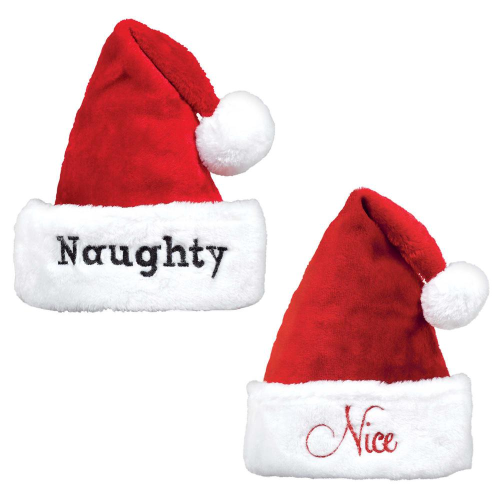 4a5e84b531c70 Amscan 15 in. x 11 in. Naughty and Nice Christmas Hat Set (2-Count ...