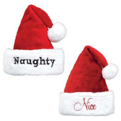 15 in. x 11 in. Naughty and Nice Christmas Hat Set (2-Count, 2-Pack)