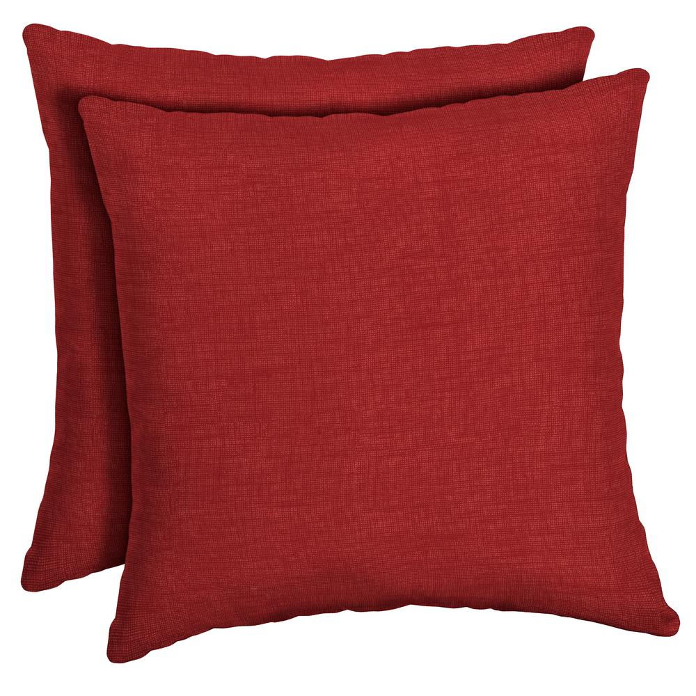 Arden Selections 16 x 16 Ruby Leala Texture Square Outdoor Throw Pillow (2-Pack)