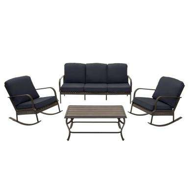 Becker 4-Piece Dark Mocha Steel Outdoor Patio Chat Seating Set with CushionGuard Midnight Navy Blue Cushions