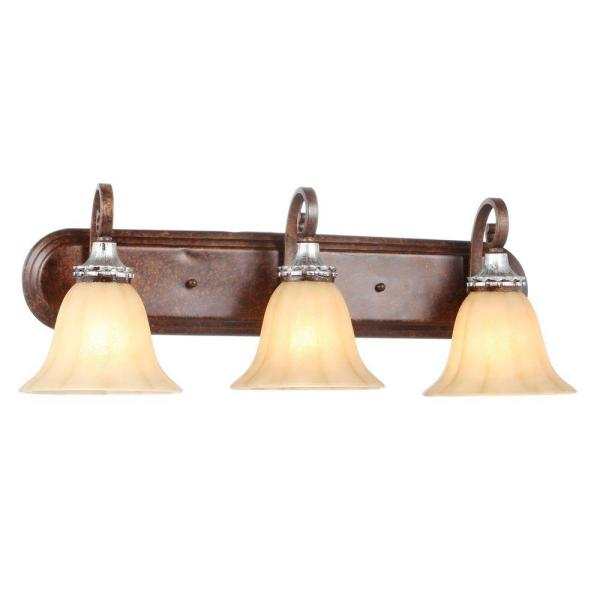 Hampton Bay 3 Light Oxide Brass And Mystique Silver Vanity Light With Bell Shaped Frosted Glass Shades Hb2078 229 The Home Depot