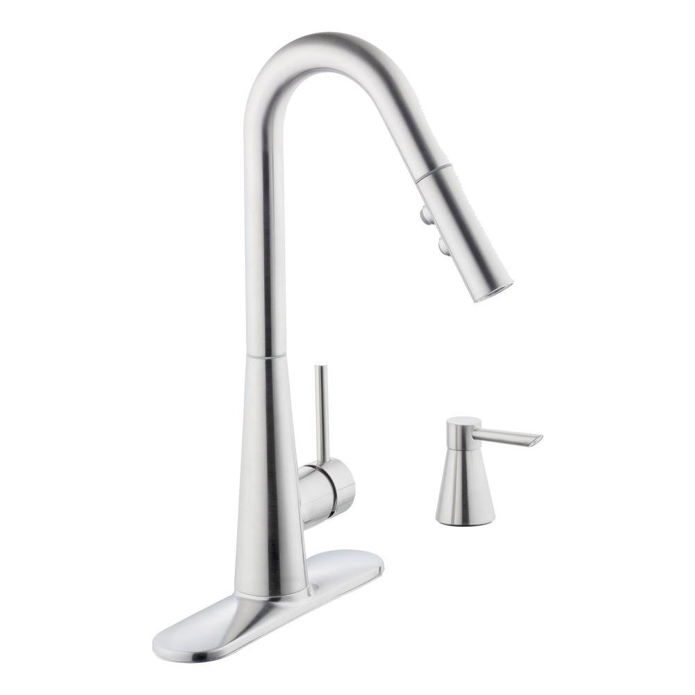 Glacier Bay 950 Series Single-Handle Pull-Down Sprayer Kitchen Faucet with Soap Dispenser in Stainless Steel