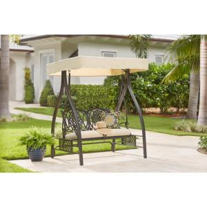 Hampton Bay Belcourt Metal Outdoor Swing with Stand and Canopy with CushionGuard Oatmeal Cushion by Hampton Bay