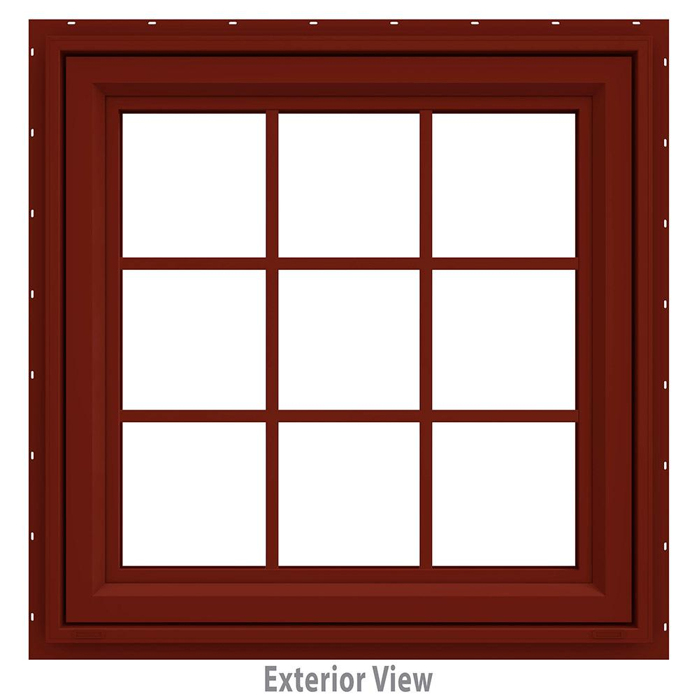 JELD-WEN 35.5 in. x 35.5 in. V-4500 Series Red Painted Vinyl Awning Window with Colonial Grids/Grilles