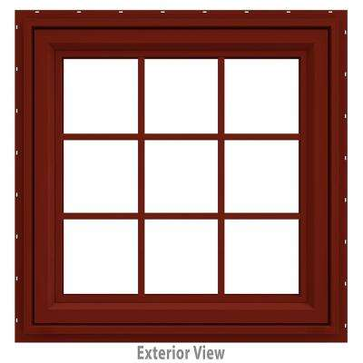35.5 in. x 35.5 in. V-4500 Series Red Painted Vinyl Awning Window with Colonial Grids/Grilles