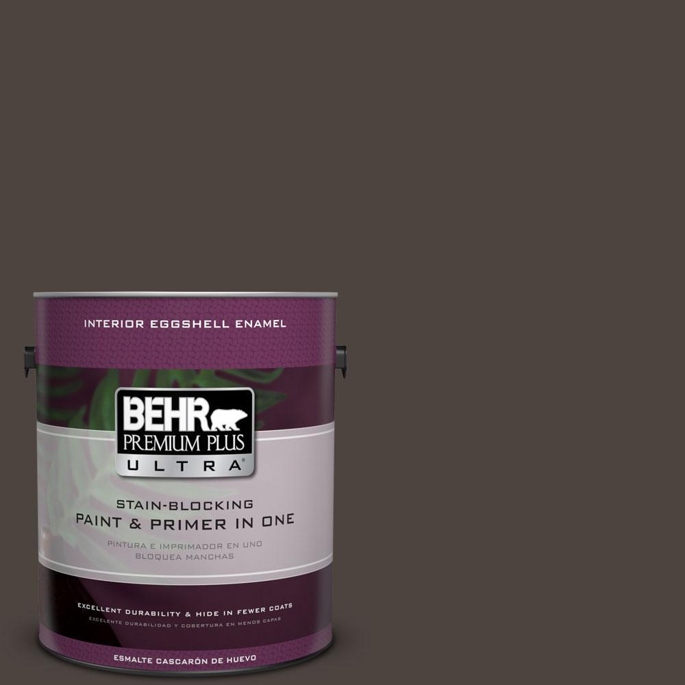 BEHR Premium Plus Ultra 1-Gal. #PPU5-1 Espresso Beans Eggshell Enamel Interior Paint