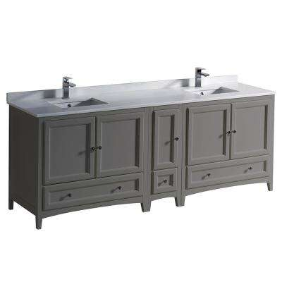 Oxford 84 in. Traditional Double Bath Vanity in Gray with Quartz Stone Vanity Top in White with White Basins