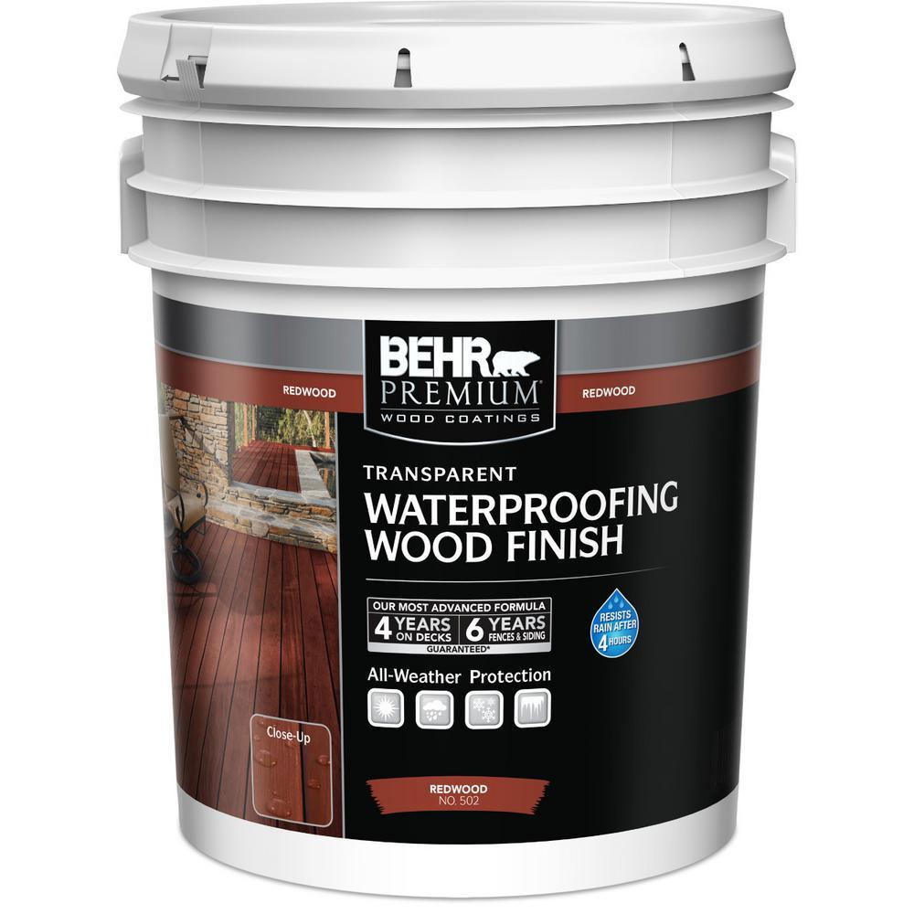 BEHR Premium 5 gal. #T-330 Redwood Transparent Waterproofing Wood Finish