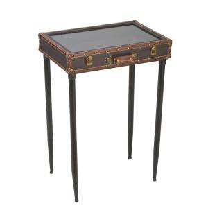Brown Glass Top Suitcase Accent Table by