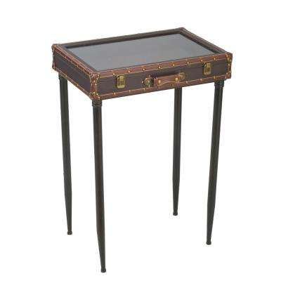 Brown Glass Top Suitcase Accent Table