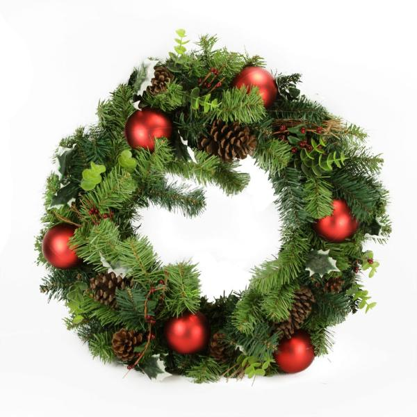 24 in. Unlit Green and Red Pine Cone and Eucalyptus Artificial Christmas Wreath