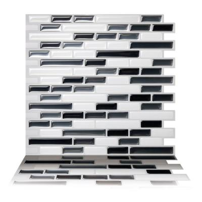 Como Gray 10 in. W x 10 in. H Peel and Stick Self-Adhesive Decorative Mosaic Wall Tile Backsplash (5-Tiles)
