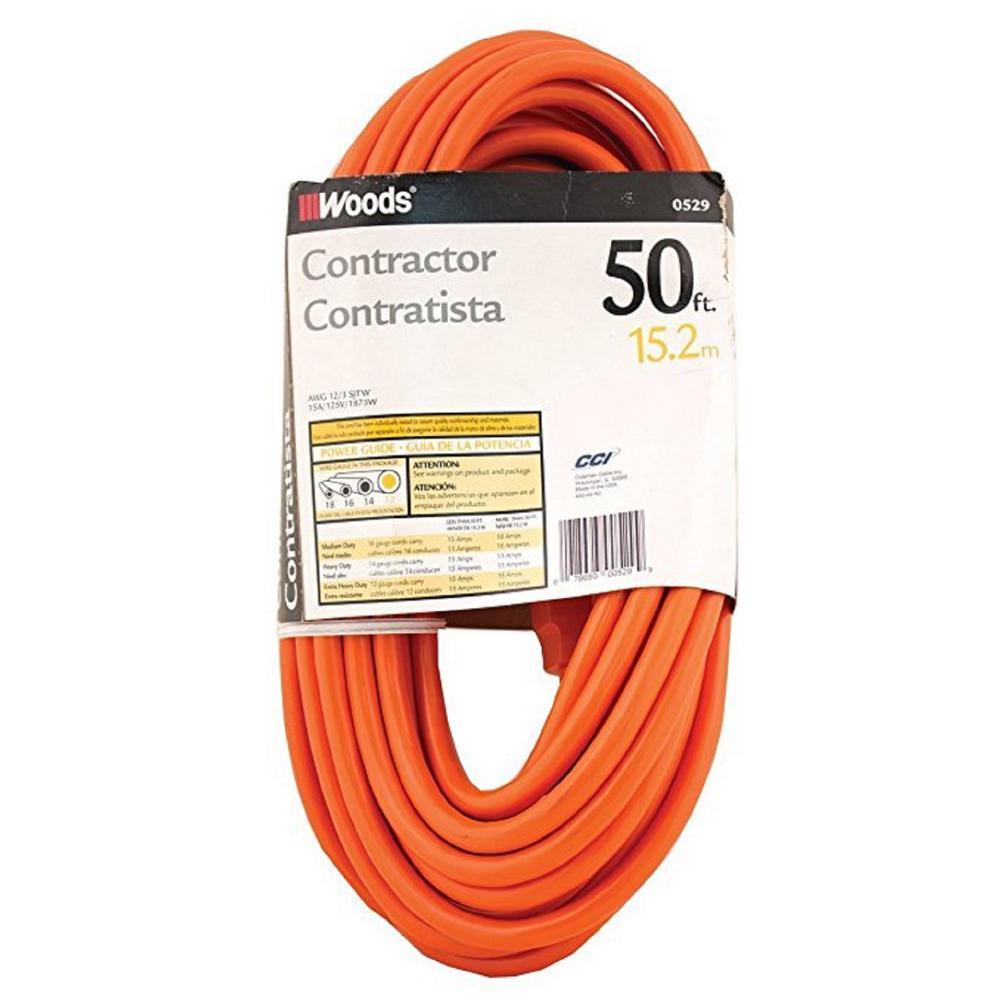 50 ft. 12/3 SJTW Outdoor Heavy-Duty Extension Cord, Orange