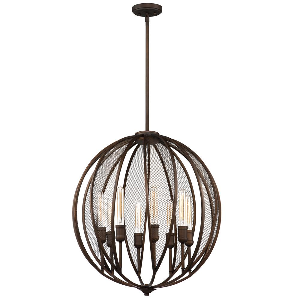 ARTCRAFT Linden 8-Light Bronze Chandelier The  Linden  collection features a rich oil rubbed bronze frame complimented with tubular arms, and adorned with metal mesh. Comes with a hang straight for sloped ceilings and extra rods for height adjustment.