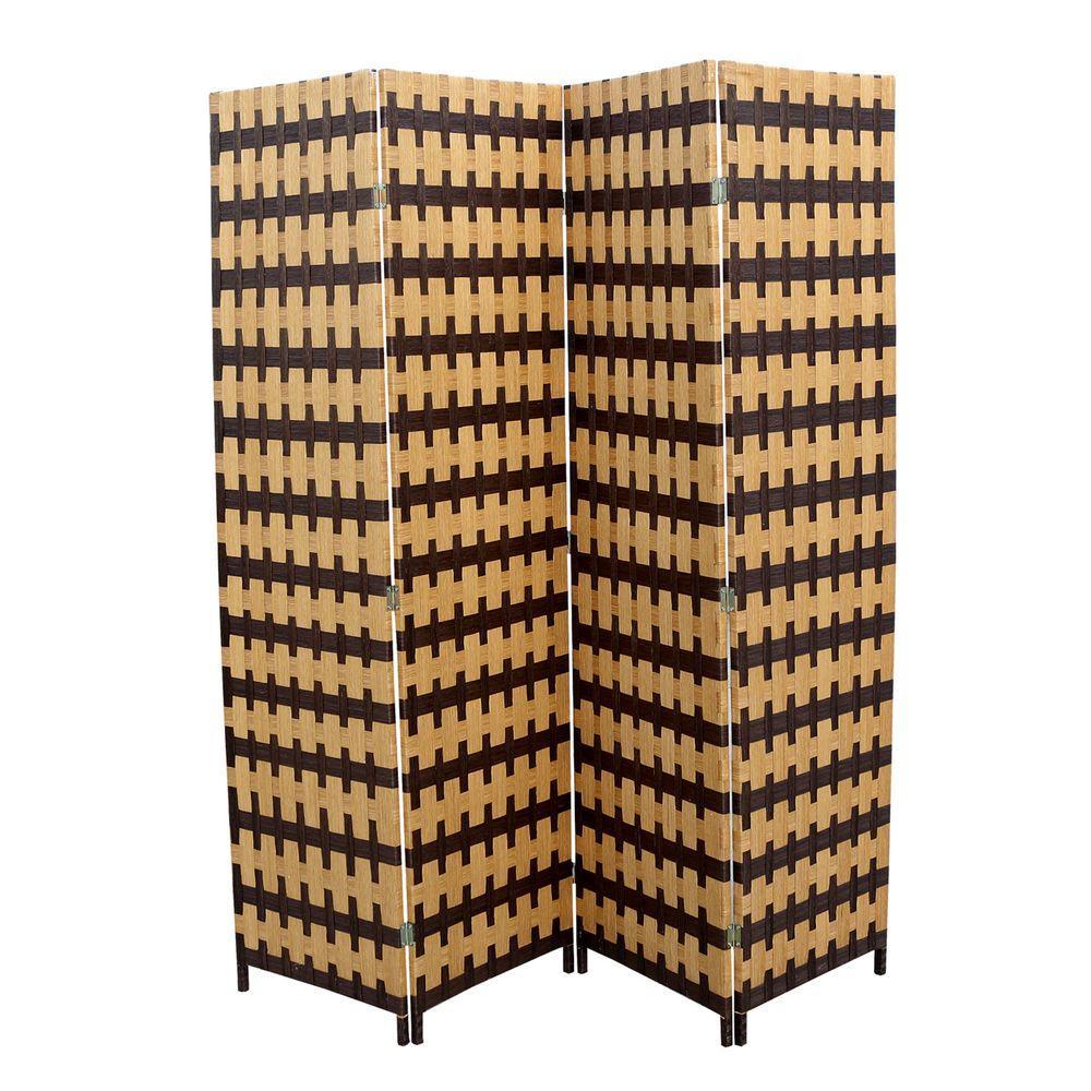 5.9 ft. Light Brown 4-Panel Room Divider, Brown/Light Brown