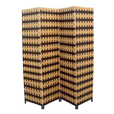 5.9 ft. Light Brown 4-Panel Room Divider