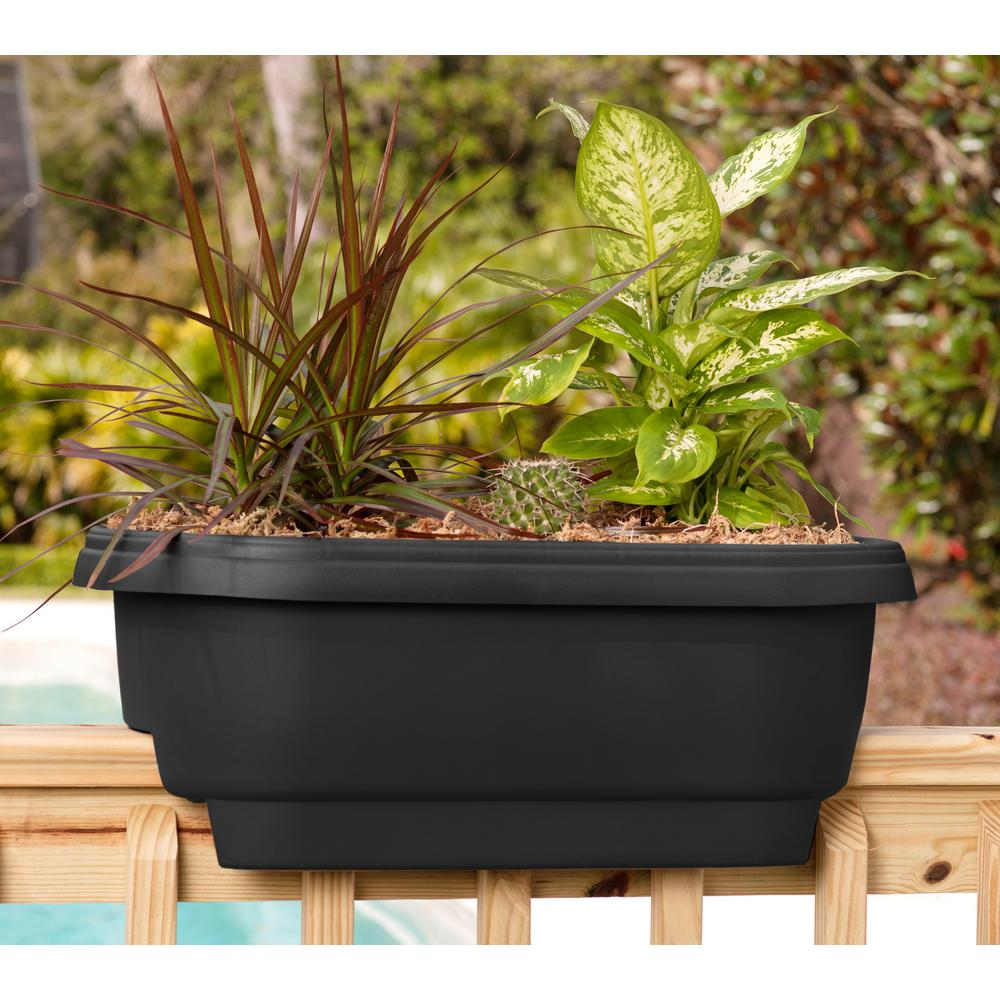 1000 Images About Garden Containers Deck Railing On: Bloem Deck 24 In. Balcony Rail Planter In Black-DR2400