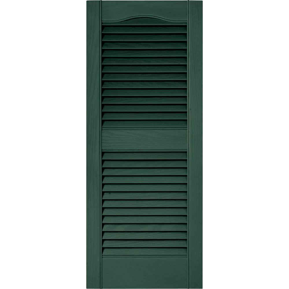 Builders Edge 15 in. x 36 in. Louvered Vinyl Exterior Shutters Pair in #028 Forest Green
