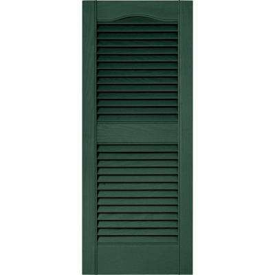 15 in. x 36 in. Louvered Vinyl Exterior Shutters Pair in #028 Forest Green