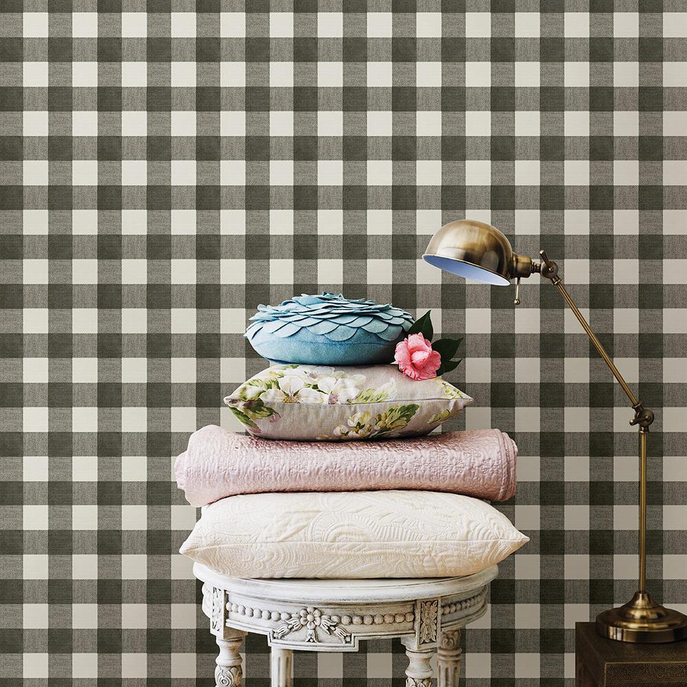 Claire Black Gingham Wallpaper Sample