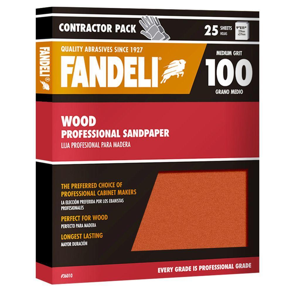 Fandeli 9 in. x 11 in. 100 Grit Medium Aluminum Oxide Sandpaper (25-Pack)