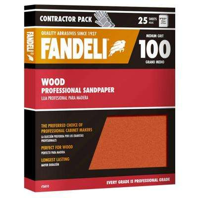 9 in. x 11 in. 100 Grit Medium Aluminum Oxide Sandpaper (25-Pack)