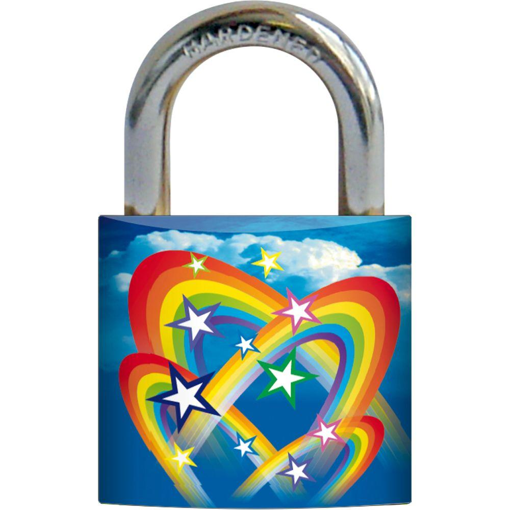 Rish 1-3/16 in. Metal Body Rainbow Design Painted Padlock-DISCONTINUED