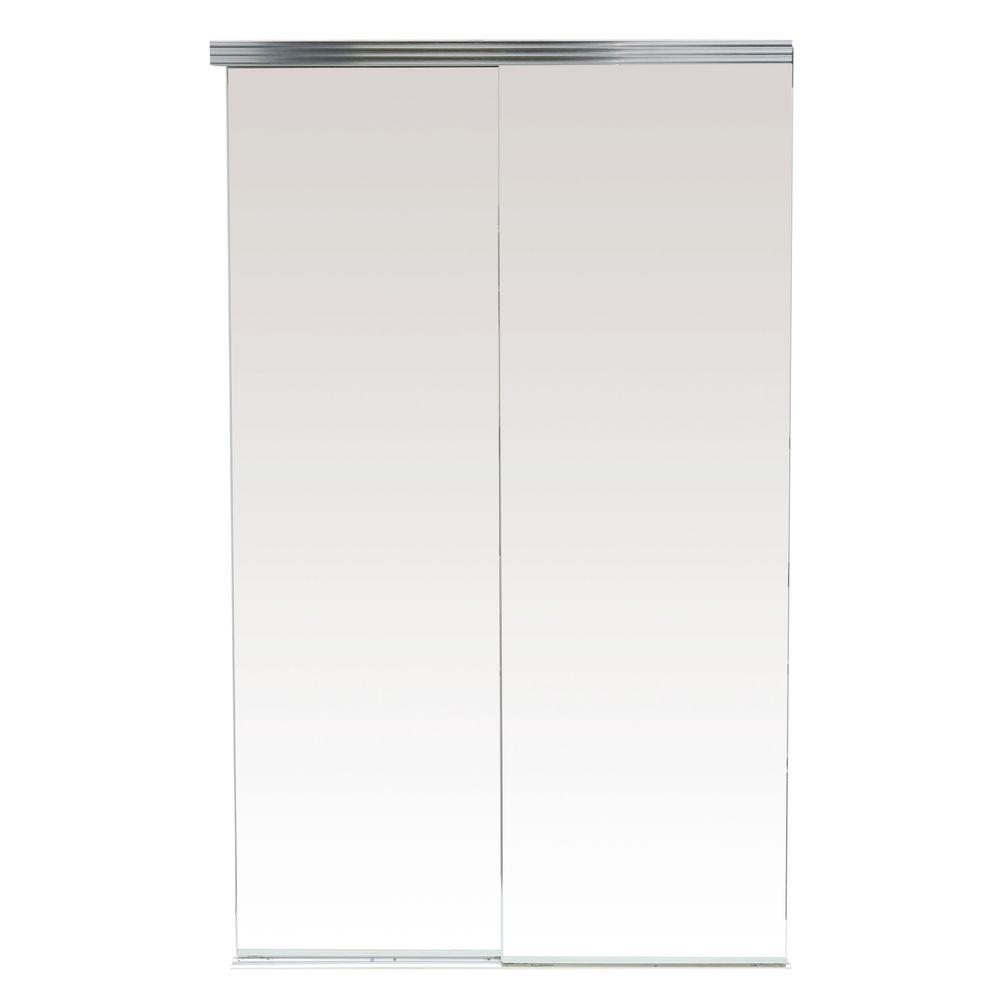 Impact Plus 72 in. x 80 in. Polished Edge Backed Mirror Aluminum Frame Interior Closet Sliding Door with Chrome Trim
