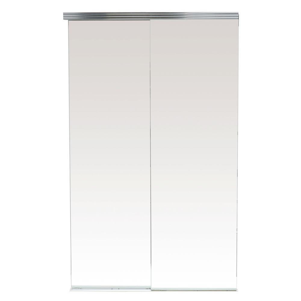 Impact Plus 96 in. x 80 in. Polished Edge Backed Mirror Aluminum Frame Interior Closet Sliding Door with Chrome Trim