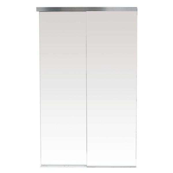 60 in. x 80 in. Polished Edge Backed Mirror Aluminum Frame Interior Closet Sliding Door with Chrome Trim