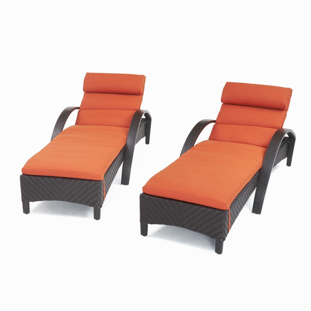 Rst Brands Barcelo 2 Piece Wicker Outdoor Chaise Lounge With Sunbrella Tikka Orange Cushions