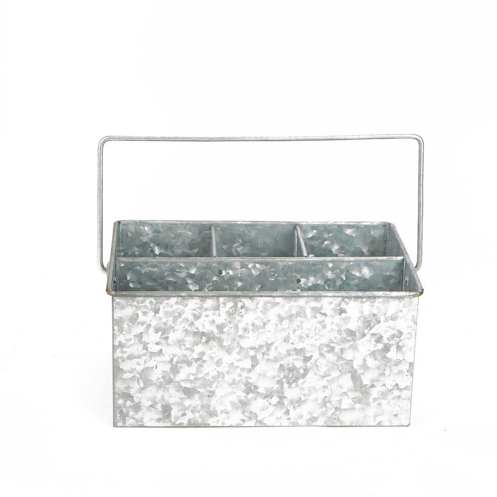 Silver Galvanized steel Utensils Caddy Serve Ware Holder Basket Kitchen Condiment Organizer
