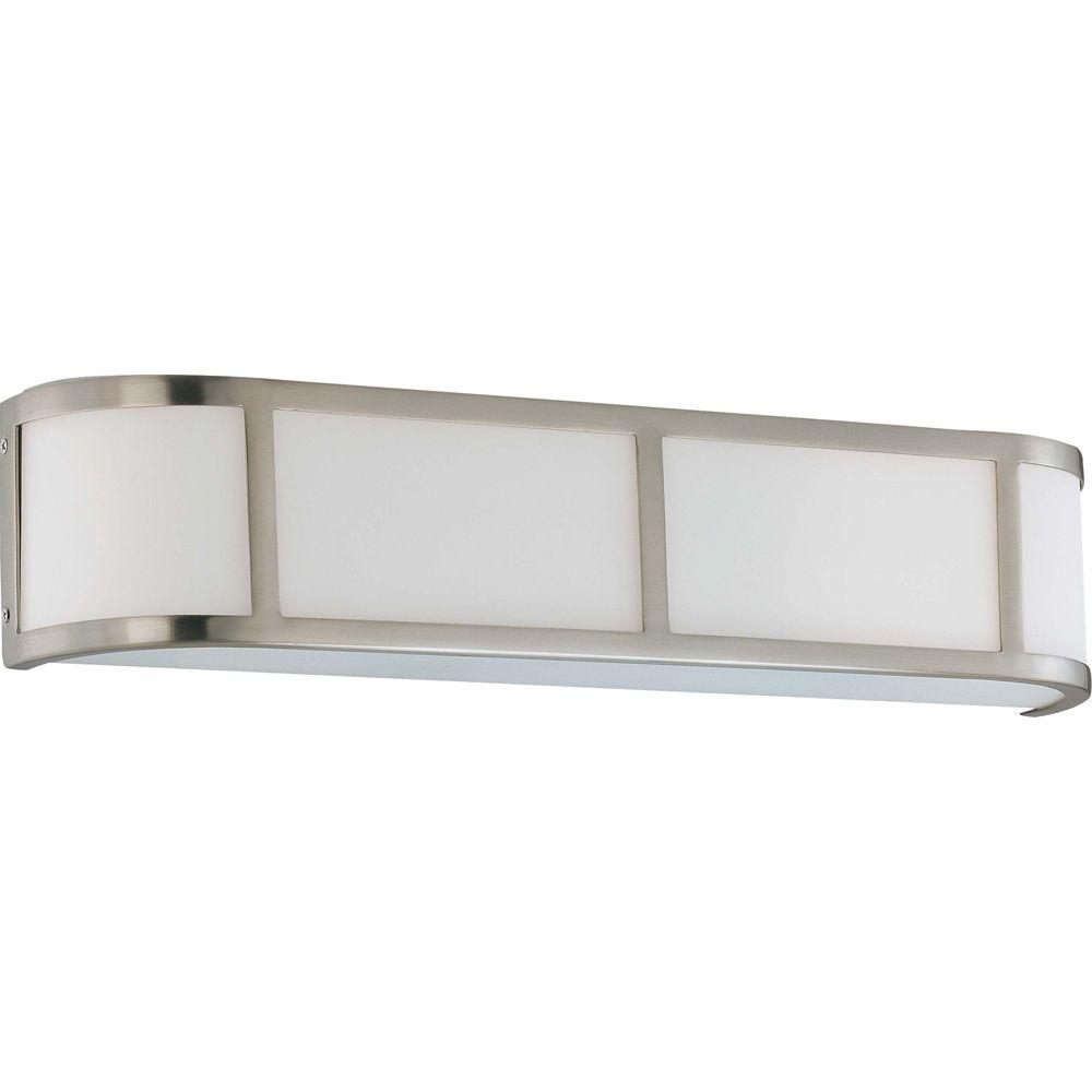 Lite Line Andra 3-Light Brushed Nickel Sconce with Satin White Glass