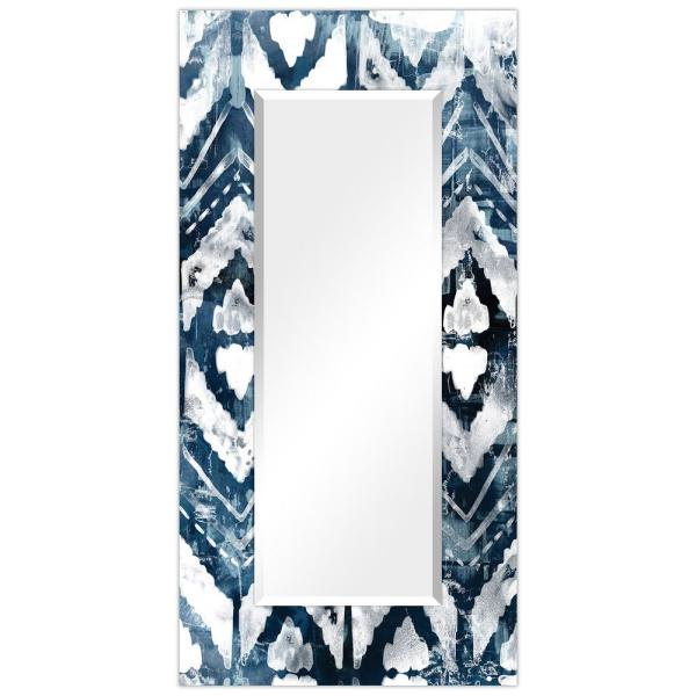 Oversized Rectangle BlueWhiteBlack Beveled Glass Contemporary Mirror (72 in. H x 36 in. W)