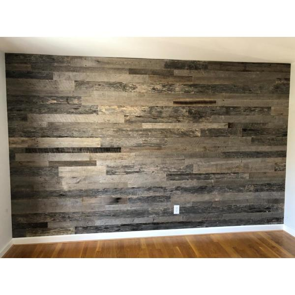 Vintage Timber 3 8 In X 4 Ft Random Width 3 In 5 In Grey Reclaimed Planks Decorative Wall Panel 10 59 Sq Ft Pack 2102 The Home Depot