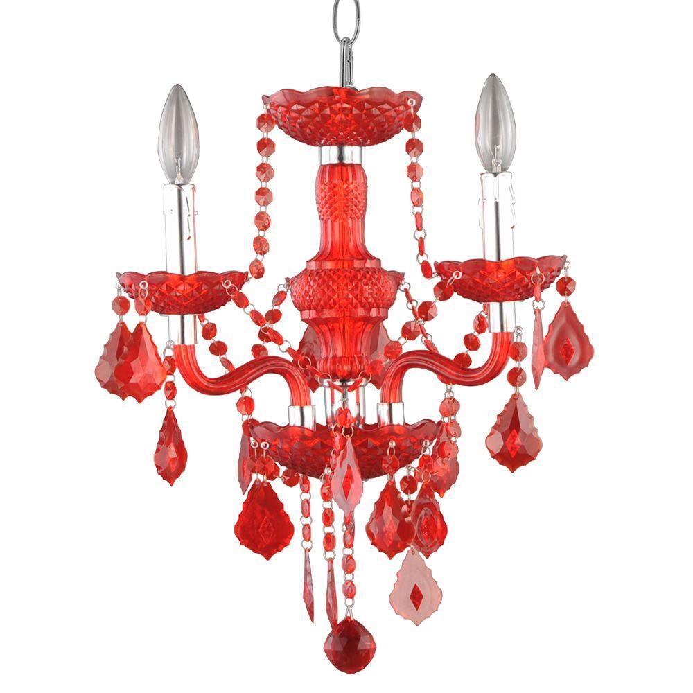 3-Light Maria Theresa Chrome Red Acrylic Chandelier