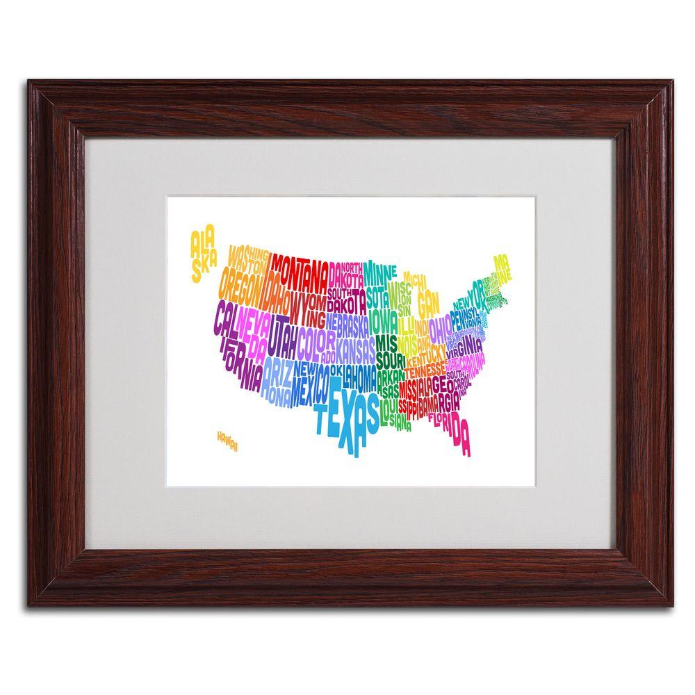 null 11 in. x 14 in. USA States Text Map 3 Matted Framed Art