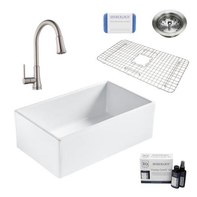 Bradstreet II All-in-One Farmhouse Fireclay 30 in. Single Bowl Kitchen Sink with Stainless Faucet and Drain