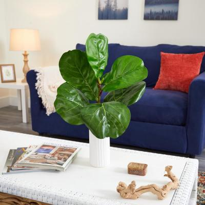 20 in. Fiddle Leaf Artificial Plant in White Planter