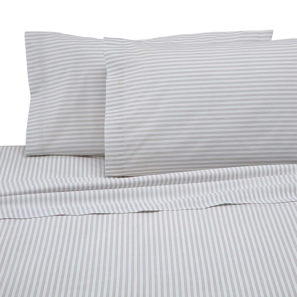 225 Thread Count Light Gray Cotton Twin XL Sheet Set