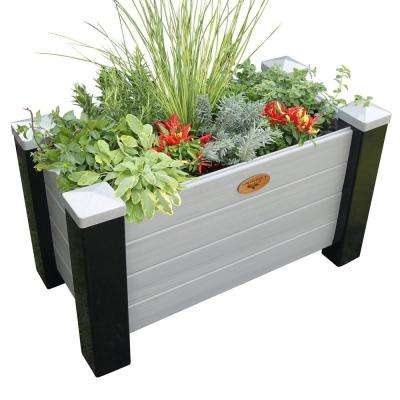 18 in. x 36 in. x 20 in. Maintenance Free Black and Gray Vinyl Planter Box