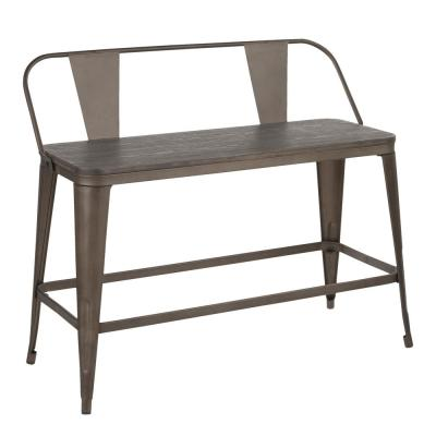 Oregon 26 in. Counter Height Bench in Antique Metal and Espresso Wood