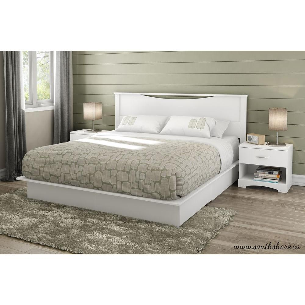 south shore step one 2 drawer king size platform bed in pure white 3160237 the home depot. Black Bedroom Furniture Sets. Home Design Ideas