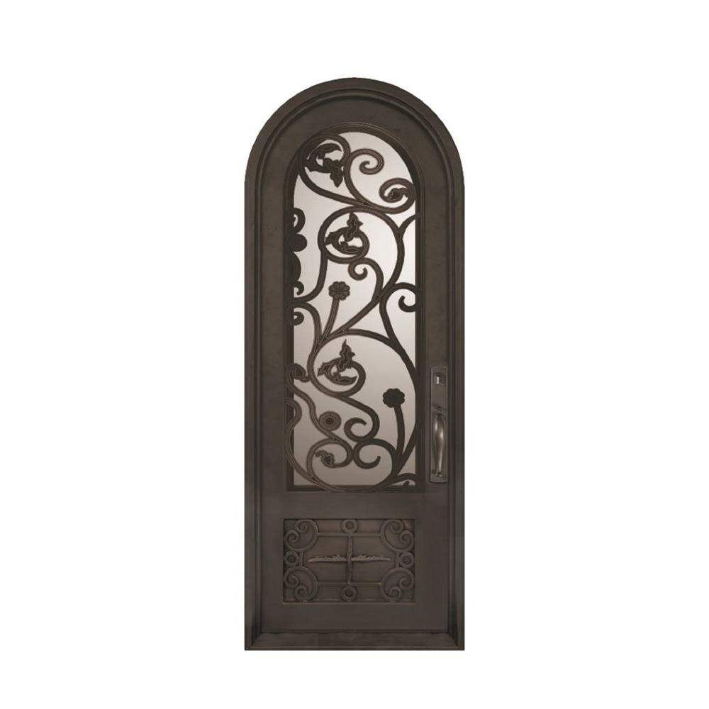 Iron Doors Unlimited 38 in. x 110 in. Fero Fiore Classic Center Arch Painted Oil Rubbed Bronze Decorative Wrought Iron Prehung Front Door