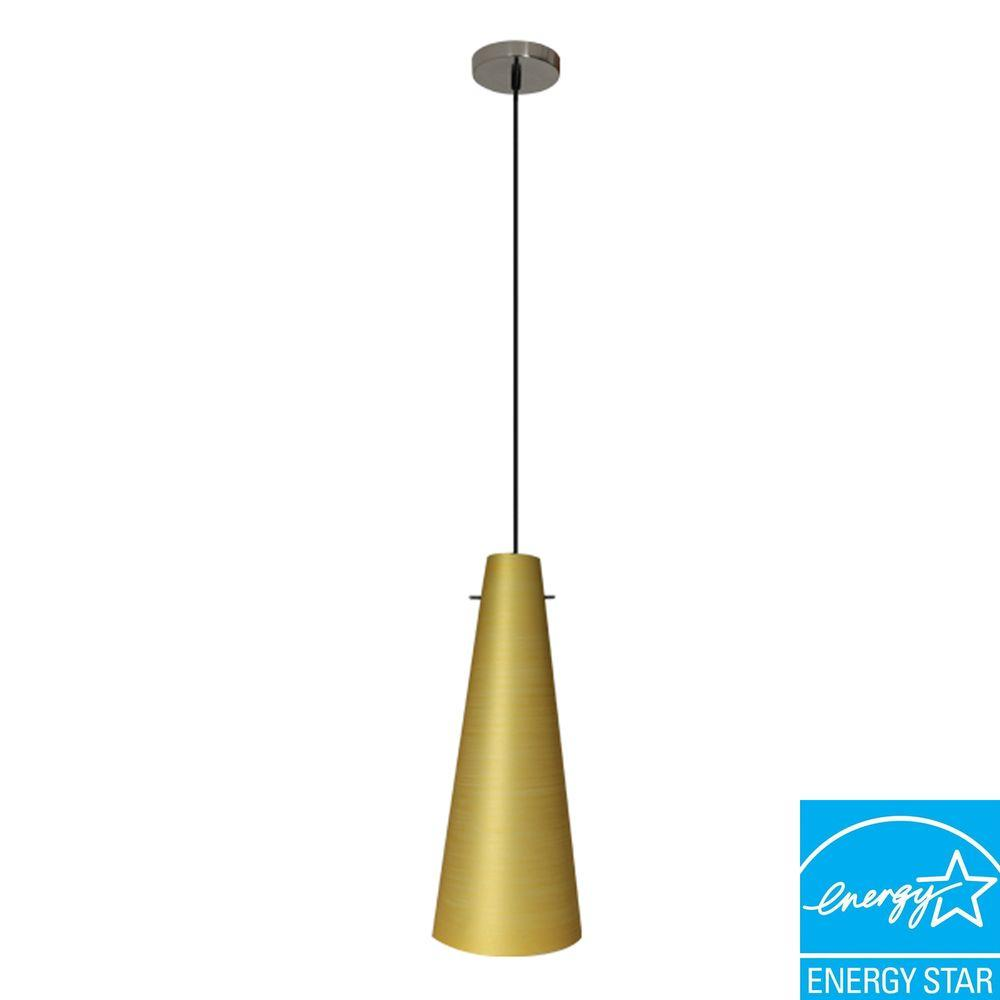 Efficient Lighting Conventional Series 1-Light Ceiling Mount Pendant Fixture with Gold Glass Shade GU24 Energy Star Qualified-DISCONTINUED