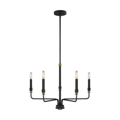 Oliver 5-Light Midnight Matte Black Modern Minimalist Chandelier with Aged Brass Accents and 2 Sets of Candle Tubes