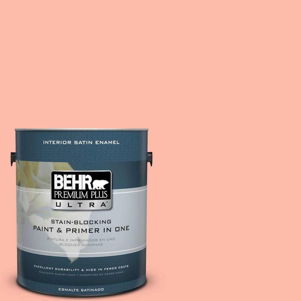 BEHR Premium Plus Ultra 1-gal. #200A-3 Blushing Apricot Satin Enamel Interior Paint
