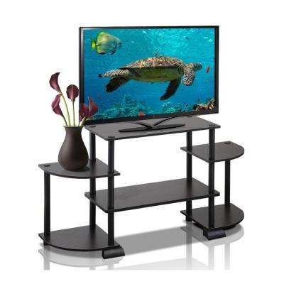 Turn-N-Tube Espresso Entertainment Center with Round Side Shelves